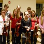 String instructor Chris Nourse with students from his studio